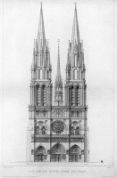 0117325 © Granger - Historical Picture ArchivePARIS: NOTRE DAME.   Plan by Eugène Viollet-le-Duc, who restored the cathdedral in the mid-19th century, showing how the church might have looked with the spires originally intended to crown the towers.
