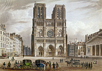 0117341 © Granger - Historical Picture ArchivePARIS: NOTRE DAME, c1825.  View of the facade of Notre Dame Cathedral in Paris, France. Color line engraving, early 19th century.