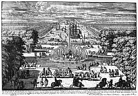0117607 © Granger - Historical Picture ArchiveVERSAILLES: GARDENS, 1685.   The Apollo Fountain and Pool. Line engraving from Perelle's 'Views of the Beautiful Houses of France,' 1685.