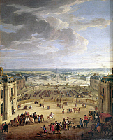 0117616 © Granger - Historical Picture ArchiveFRANCE: VERSAILLES. 1690.   The forecourts and two stables seen from King Louis XIV's bedroom at the Palace of Versailles. Oil on canvas by J.B. Martin, 1690.