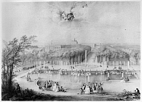 0117642 © Granger - Historical Picture ArchiveFRANCE: VERSAILLES, 1745.   The Neptune Basin in the gardens of the Palace of Verailles. Gouache by Jacques André Portail, 1745.