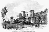 0122583 © Granger - Historical Picture ArchiveCANNES: CHATEAU, 1856.   The Chateau Eleanor Louise, seat of Henry Peter Brougham, 1st Baron Brougham and Vaux, at Cannes, France. Wood engraving, English, 1856.