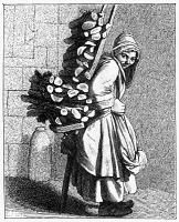 0322410 © Granger - Historical Picture ArchivePARISIAN STREET-CRIER, c1740.   A Parisian street-crier offering bundles of wood for sale. Wood engraving, French, 19th century, after an engraving, c1740, designed by Edmé Bouchardon.