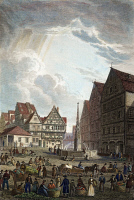 0042682 © Granger - Historical Picture ArchiveULM MARKETPLACE, 1821.   View of the market place at Ulm, Germany. Steel engraving, 1821, after Robert Batty.