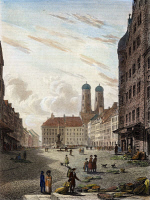 0047268 © Granger - Historical Picture ArchiveMUNICH, GERMANY, 1821.   A view of Munich, Germany. Etching and engraving, 1821, after a drawing by Robert Batty.