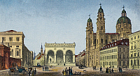 0093961 © Granger - Historical Picture ArchiveGERMANY: MUNICH, c1845.   View of the Odeonsplatz in Munich, Germany, showing the Hall of Generals (center) and the Theatine Church (right). Steel engraving, c1845, by Johann Poppel.