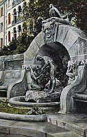 0093993 © Granger - Historical Picture ArchiveLEIPZIG: MÄRCHENBRUNNEN.   View of the Märchenbrunnen in Leipzig, Germany, with bronze figures of fairy tale characters Hansel and Gretel at center, and figures of a witch and raven carved in stone at top. German photochrome postcard, 1907.