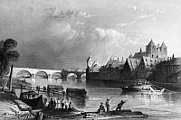 0165794 © Granger - Historical Picture ArchiveGERMANY: REGENSBURG.   A view of Regensburg on the Danube River in Bavaria, Germany. Steel engraving, English, 1844, after William Henry Bartlett.