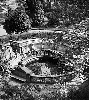 0166604 © Granger - Historical Picture ArchiveGERMANY: DONAUQUELLE.   Visitors in the palace gardens at Donaueschingen, Germany, looking at the Donauquelle, the source of the Danube River. Photographed by Toni Schneiders, 1953.