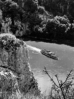 0166607 © Granger - Historical Picture ArchiveGERMANY: DANUBE GORGE.   Aerial view of a passenger boat traveling through the Danube River gorge in the Franconian Jura mountains, between Weltenburg and Kelheim in Bavaria, Germany. Photographed by Ernst Tremel, c1960.