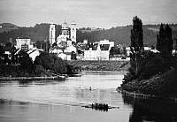 0167168 © Granger - Historical Picture ArchiveGERMANY: PASSAU, c1974.   A view of Passau, Bavaria, Germany, on the Danube River, looking towards St. Stephan's Cathedral. Photographed c1974.