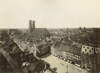 0350796 © Granger - Historical Picture ArchiveGERMANY: MUNICH.   View of the Marienplatz, New Town Hall and the Frauenkirche in Munich, Germany. Photograph, late 19th century.