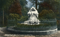 0433575 © Granger - Historical Picture ArchiveFAIRY TALE FOUNTAIN, c1920.   Sculpture by Max Blondat (1872-1925) located in Hofgarten Park, Düsseldorf, Germany. Photograph, c1920.