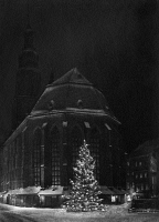 0433586 © Granger - Historical Picture ArchiveGERMANY: HEIDELBERG, c1920.   Christmas tree in front of the Church of the Holy Spirit in Heidelberg, Germany. Photograph, c1920.