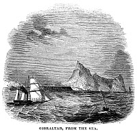 0077440 © Granger - Historical Picture ArchiveGIBRALTAR, 1843.   A view of Gibraltar, from the sea. Wood engraving, English, 1843.