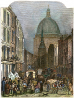 0064081 © Granger - Historical Picture ArchiveFLEET STREET, LONDON, 1848.   Looking towards St. Paul's Cathedral. Line engraving, 1848.