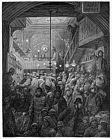 0088390 © Granger - Historical Picture ArchiveDORE: BILLINGSGATE, 1872.   Billingsgate fish market in the early morning. Wood engraving after Gustave Dore from 'London: A Pilgrimage,' 1872.