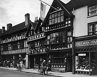 0116301 © Granger - Historical Picture ArchiveSTRATFORD-UPON-AVON.   Harvard House, built in 1596, the home of Katherine Rogers, mother of John Harvard, after whom the University was named, in Stratford-upon-Avon, Warwickshire, England. Photograph, mid-20th century.
