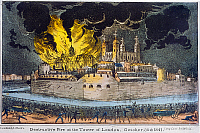 0116419 © Granger - Historical Picture ArchiveTOWER OF LONDON: FIRE.   'Destructive Fire at the Tower of London, 30 October 1841.' The small armory on fire. Contemporary English lithograph.