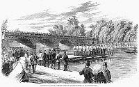 0268374 © Granger - Historical Picture ArchiveLONDON: PONTOON, 1860.   Demonstration of Captain Francis Fowke's pontoon bridge on the Serpentine Lake in Hyde Park, London, before the Duke of Cambridge, 1860. Contemporary English wood engraving.