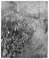 0354730 © Granger - Historical Picture ArchiveDORÉ: LONDON, 1872.   'Finish of the Race.' Wood engraving after Gustave Doré, from the series 'London: A Pilgrimage,' 1872.