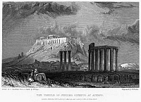 0094985 © Granger - Historical Picture ArchiveATHENS: OLYMPIAN ZEUS.   View of the Temple of Olympian Zeus in Athens, Greece, with the Acropolis seen in the distance. Steel engraving, English, 1832, by Edward Finden.