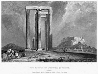 0094986 © Granger - Historical Picture ArchiveATHENS: OLYMPIAN ZEUS.   View of the Temple of Olympian Zeus in Athens, Greece. Steel engraving, English, 1832, by William Finden.