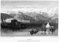 0094992 © Granger - Historical Picture ArchiveGREECE: CORFU, 1832.   View of the Greek island of Corfu, in the Ionian Sea. Steel engraving, English, 1832, by Edward Finden after Clarkson Stanfield.