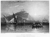 0094994 © Granger - Historical Picture ArchiveGREECE: CAPE SOUNION, 1832.   View of Cape Sounion (Cape Colonna), Greece. Steel engraving, English, 1832, by Edward Finden after William Purser.
