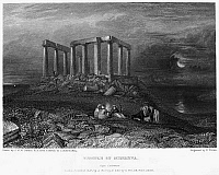 0094995 © Granger - Historical Picture ArchiveGREECE: CAPE SOUNION, 1832.   View of the ruins of the Temple of Poseidon at Cape Sounion (or Cape Colonna), Greece. Steel engraving, English, 1832, by Edward Finden after Joseph Mallord William Turner.