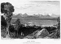 0094999 © Granger - Historical Picture ArchiveGREECE: LEVKAS, 1832.   View of the Greek island of Levkas, in the Ionian Sea, looking towards the mainland. Steel engraving, English, c1832, by Edward Finden after Clarkson Stanfield.