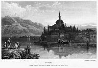 0095000 © Granger - Historical Picture ArchiveGREECE: YANINA, 1832.   View of the city of Yanina, on Lake Pamvotis in Epirus in northwestern Greece. Steel engraving, English, 1832, by Edward Finden after Clarkson Stanfield.