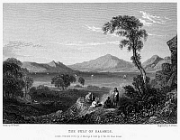 0095002 © Granger - Historical Picture ArchiveGREECE: GULF OF SALAMIS.   View of the Gulf of Salamis in Greece, on the Aegean Sea. Steel engraving, English, 1833, by Edward Finden after William Purser.