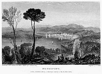 0095005 © Granger - Historical Picture ArchiveGREECE: EURIPUS STRAIT.   View of the Euripus Strait from the Aegean island of Euboea, looking towards the city of Chalcis and its connection to the Greek mainland at Negropont. Steel engraving, English, 1834, by Edward Finden after Joseph Mallord William Turner.