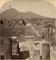 0111464 © Granger - Historical Picture ArchivePOMPEII: THE FORUM.   The Forum of Pompeii with Vesuvius in the background. Stereograph, c1897.