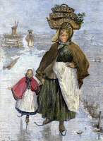 0096402 © Granger - Historical Picture ArchiveHOLLAND: SKATING, 1891.   Dutch woman and girl skating on a frozen canal on their way to market. Wood engraving, English, 1891.