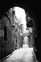 0130375 © Granger - Historical Picture ArchiveJERUSALEM: WINTER.   Location of the fifth station of the cross on the Via Dolorosa in Jerusalem, during a snowy winter, early 20th century.