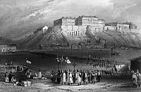 0165799 © Granger - Historical Picture ArchiveHUNGARY: PROCESSION.   A procession of pilgrims beside the Danube River in Pest, Hungary. Steel engraving, English, 1844, after William Henry Bartlett.