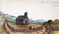 0527666 © Granger - Historical Picture ArchiveICELAND, 1862.   A church in Thingvellir, Iceland. Drawing by Bayard Taylor, 1862.