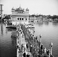 0004440 © Granger - Historical Picture ArchiveINDIA: GOLDEN TEMPLE, 1958.   The Golden Temple or Darbar Sahib, situated in Amritsar, Punjab, India is the most sacred temples for Sikhs. Photograph, 1958.