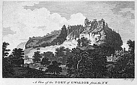 0095174 © Granger - Historical Picture ArchiveINDIA: GWALIOR, c1790.   View of the fort at Gwalior, India, from the northwest. Copper engraving, English, c1790.