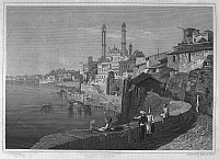 0095189 © Granger - Historical Picture ArchiveINDIA: BENARES, c1840.   View of Benares, India. Steel engraving, American, c1840, after a drawing by William Purser.