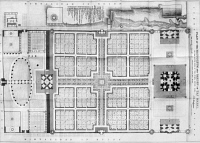 0118460 © Granger - Historical Picture ArchiveINDIA: TAJ MAHAL PLAN.   Floor plan of the mausoleum and garden of the Taj Mahal in Agra, India, a marble mausoleum built (1631-1645) by the Mogul Emperor Shah Jahan in memory of his favorite wife, Mumtaz Mahal. Engraving from the 'Journal of the Royal Asiatic Society,' English, 1843.