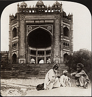 0323216 © Granger - Historical Picture ArchiveINDIA: FATEHPUR SIKRI, c1907.   'Magnificent gate to the abandoned palace of Fatehpur Sikri, called the finest gate in the world, India.' Stereograph, c1907.