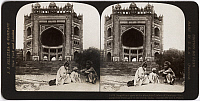 0323217 © Granger - Historical Picture ArchiveINDIA: FATEHPUR SIKRI, c1907.   'Magnificent gate to the abandoned palace of Fatehpur Sikri, called the finest gate in the world, India.' Stereograph, c1907.