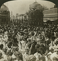 0323288 © Granger - Historical Picture ArchiveINDIA: JAIPUR, c1907.   'Mohammedans performing the sword dance in the festival of Mahorem, Jaipur, India.' Stereograph, c1907.