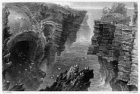 0095293 © Granger - Historical Picture ArchiveIRELAND: KILKEE, c1840.   View of Puffin Hole near Kilkee, County Clare, Ireland. Steel engraving, English, c1840, after William Henry Bartlett.