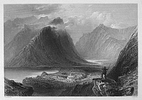 0095518 © Granger - Historical Picture ArchiveIRELAND: DELPHI LODGE.   View overlooking Delphi Lodge, near Leenane in the Connemara region of County Galway, Ireland. Steel engraving, English, c1840, after William Henry Bartlett.