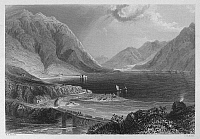 0095519 © Granger - Historical Picture ArchiveIRELAND: LEENANE, c1840.   View of Leenane on Killary Harbor, a fjord in the Connemara region of County Galway, Ireland. Steel engraving, English, c1840, after William Henry Bartlett.