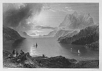0095521 © Granger - Historical Picture ArchiveIRELAND: KILLARY HARBOR.   View of Eagle Mountain overlooking Killary Harbor, a fjord in the Connemara region of County Galway, Ireland. Steel engraving, English, c1840, after William Henry Bartlett.